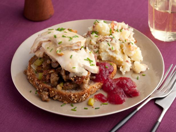 Open Faced Hot Turkey Sammys with Sausage Stuffing and Gravy, Smashed Potatoes with Bacon, Warm Apple Cranberry Sauce