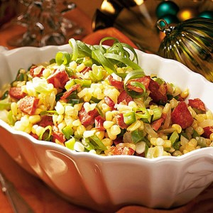Favorite Thanksgiving Sides - Recipe for Cajun Corn Maque Choux found on Southern Living
