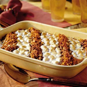 Favorite Thanksgiving Sides - Recipe for Sweet Potato Casserole found on Southern Living