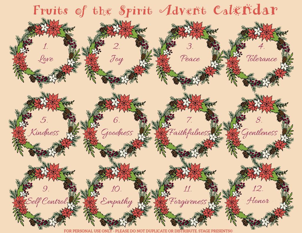 Fruit of the Spirit Advent Calendar