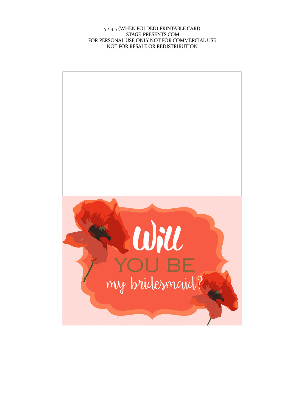 Will You Be My Bridesmaid Printable Card ©2016 Stage Presents