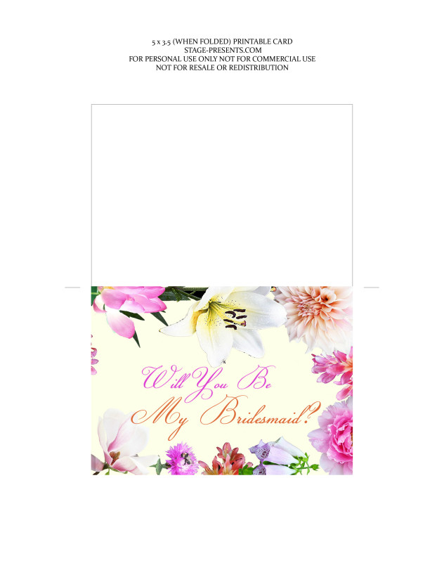 Will You Be My Bridesmaid Printable Card ©2015 Stage Presents