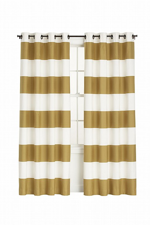 Decorating with Gold - Crate and Barrel Bold Ivory & Gold Aston Curtains