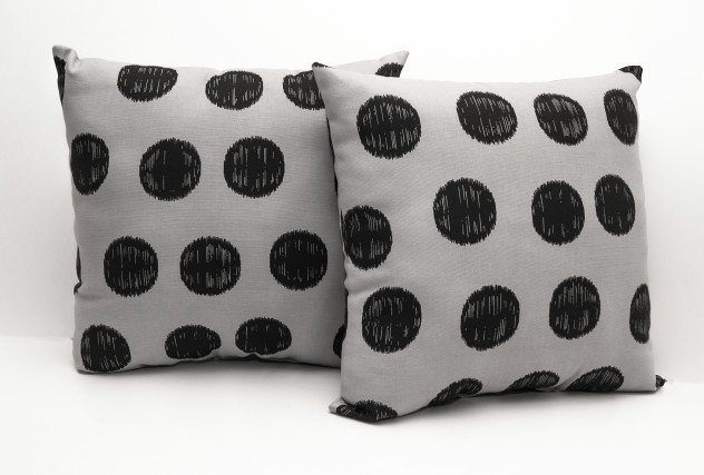 Gray and Black Polka Dot Pillow - found on Etsy Shop (stagedpresents)