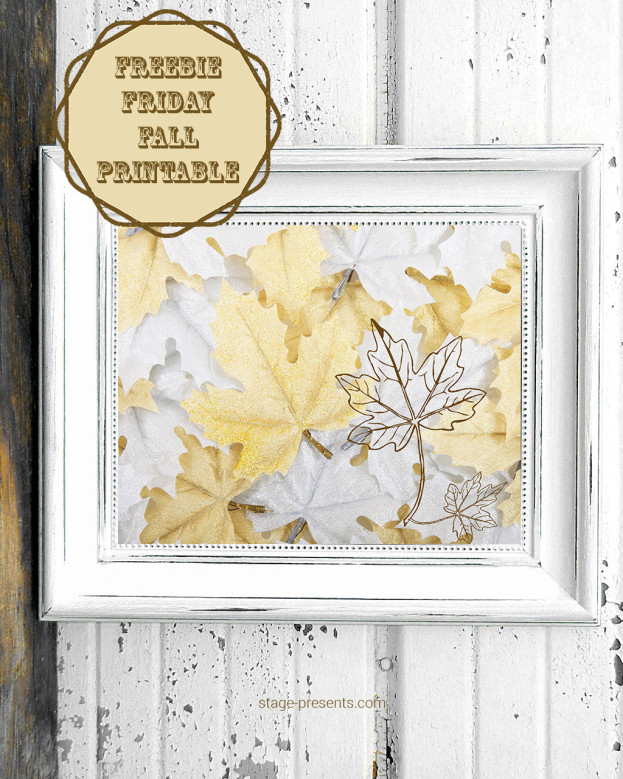 Three.. Two... One...Freebie Friday - Fall Printable - White and Gold Leaves