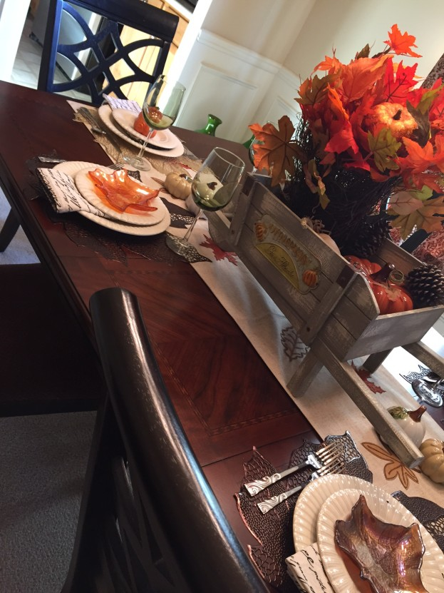 2015 Fall Home Tour - Close Up On Fall Tablescape - stage-presents.com