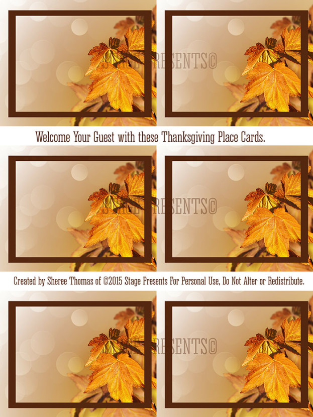 Three... Two... One... A Friday Series - Freebie Friday Thanksgiving Placecards - stage-presents.com