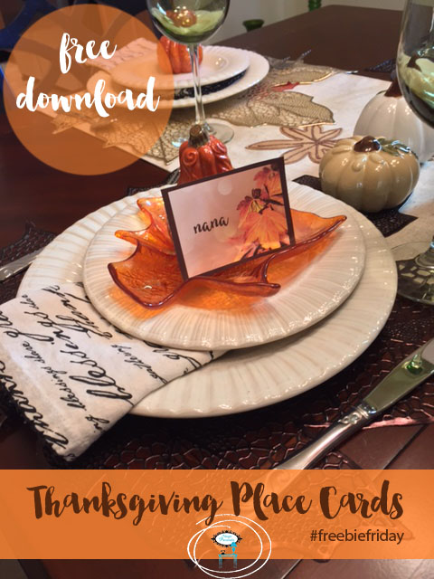 Three... Two... One... A Friday Series - Freebie Friday Thanksgiving Place Cards - stage-presents.com