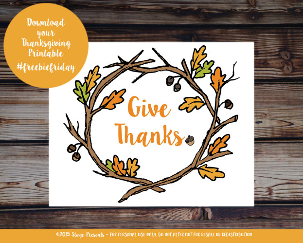 One Freebie - Give Thanks Free Download Printable - A Friday Series
