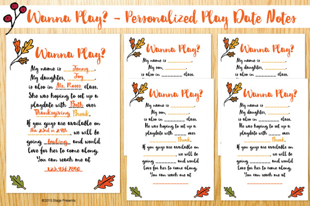 Wanna Play? - Personalized Play Date Notes
