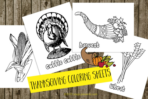 (4) Thanksgiving Coloring Sheets - Free Downloads - www.stage-presents.com