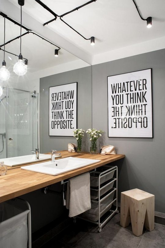 Decorating with Posters - In the Bathroom - Over sized Typography