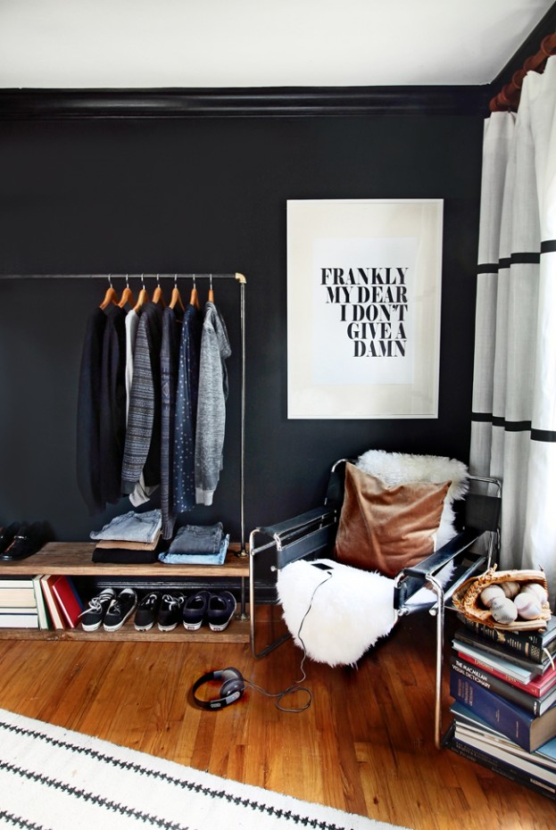 Decorating with Posters - Defining a Closet Area (where there isn't one)