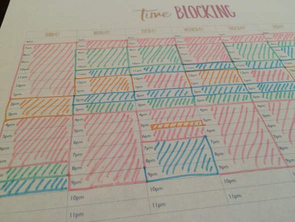 Sample Time Blocking Sheet from Hey Donna.com