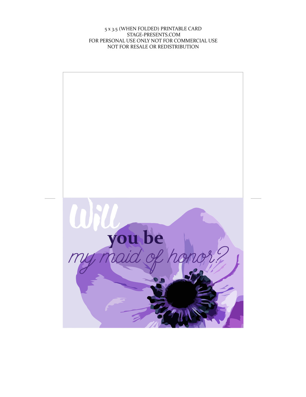 Will You Be My Maid of Honor Card - Future Bride Freebies - stage-presents.com