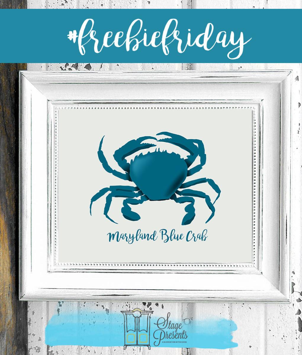 Freebie Friday - Maryland Blue Crab - Beach Printable - ©2016 Stage Presents