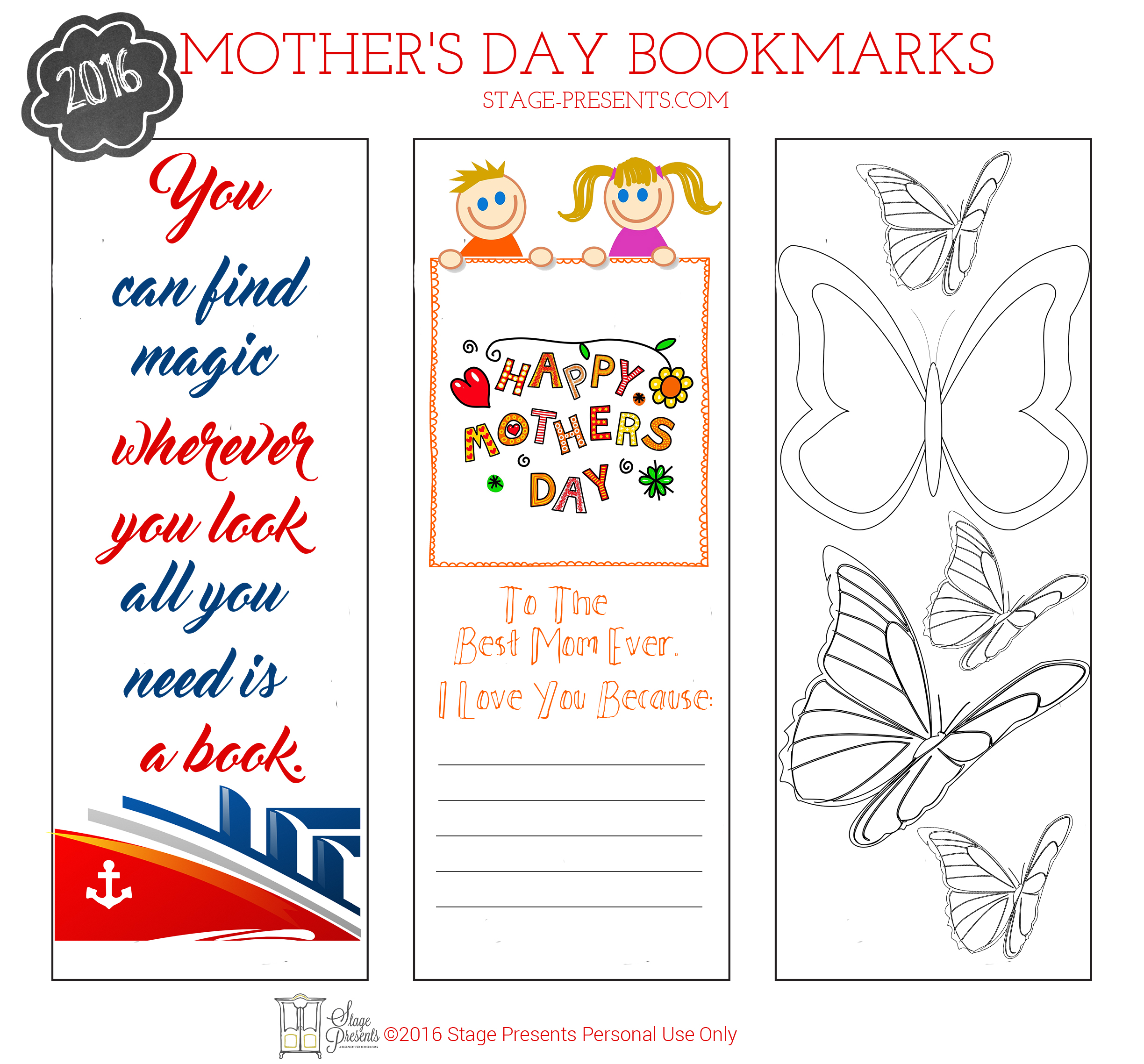 Mother's Day Bookmarks ©2016 Stage Presents