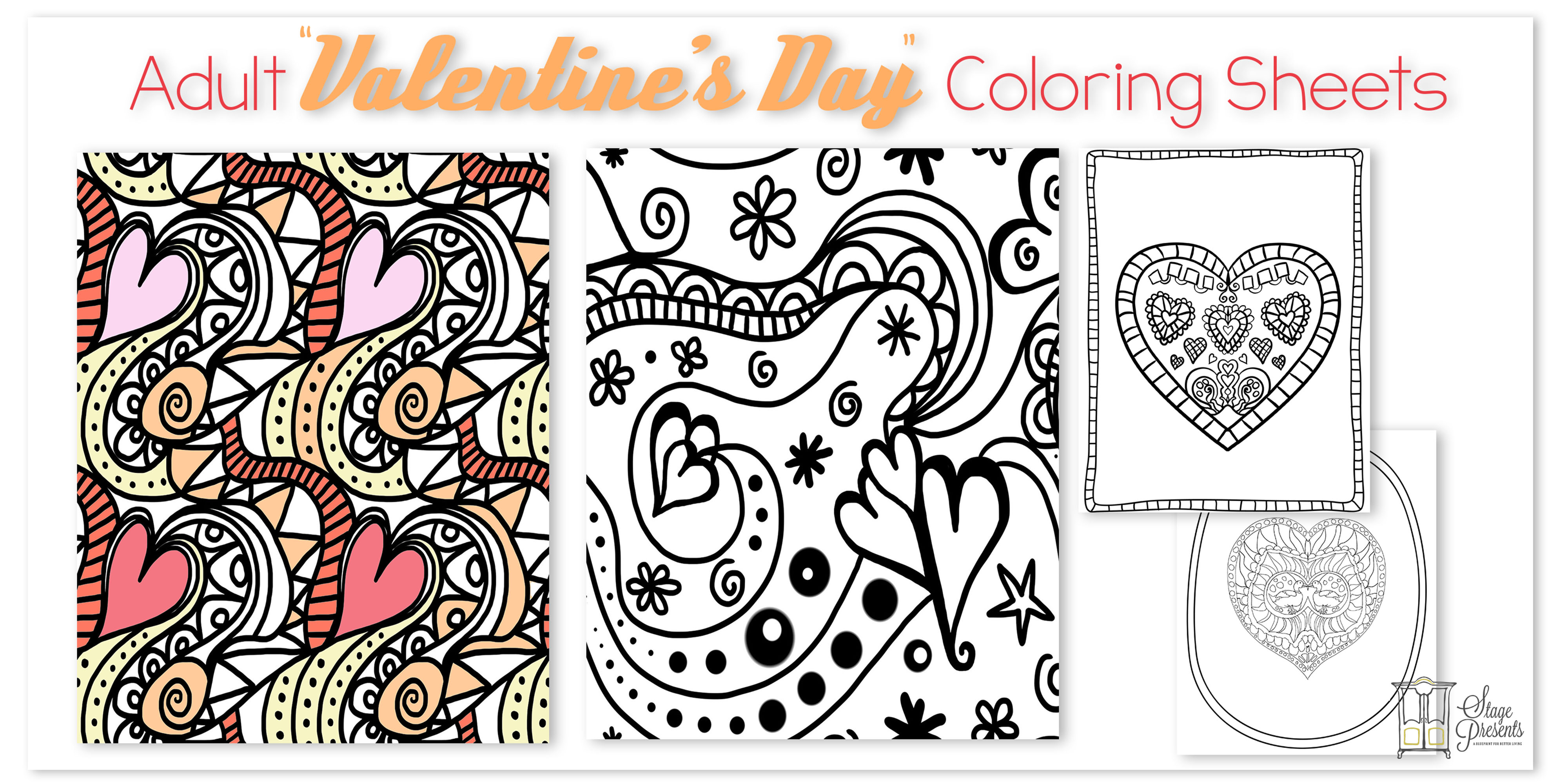 "Adult ""Valentine's Day"" Coloring Sheets Hero Image"