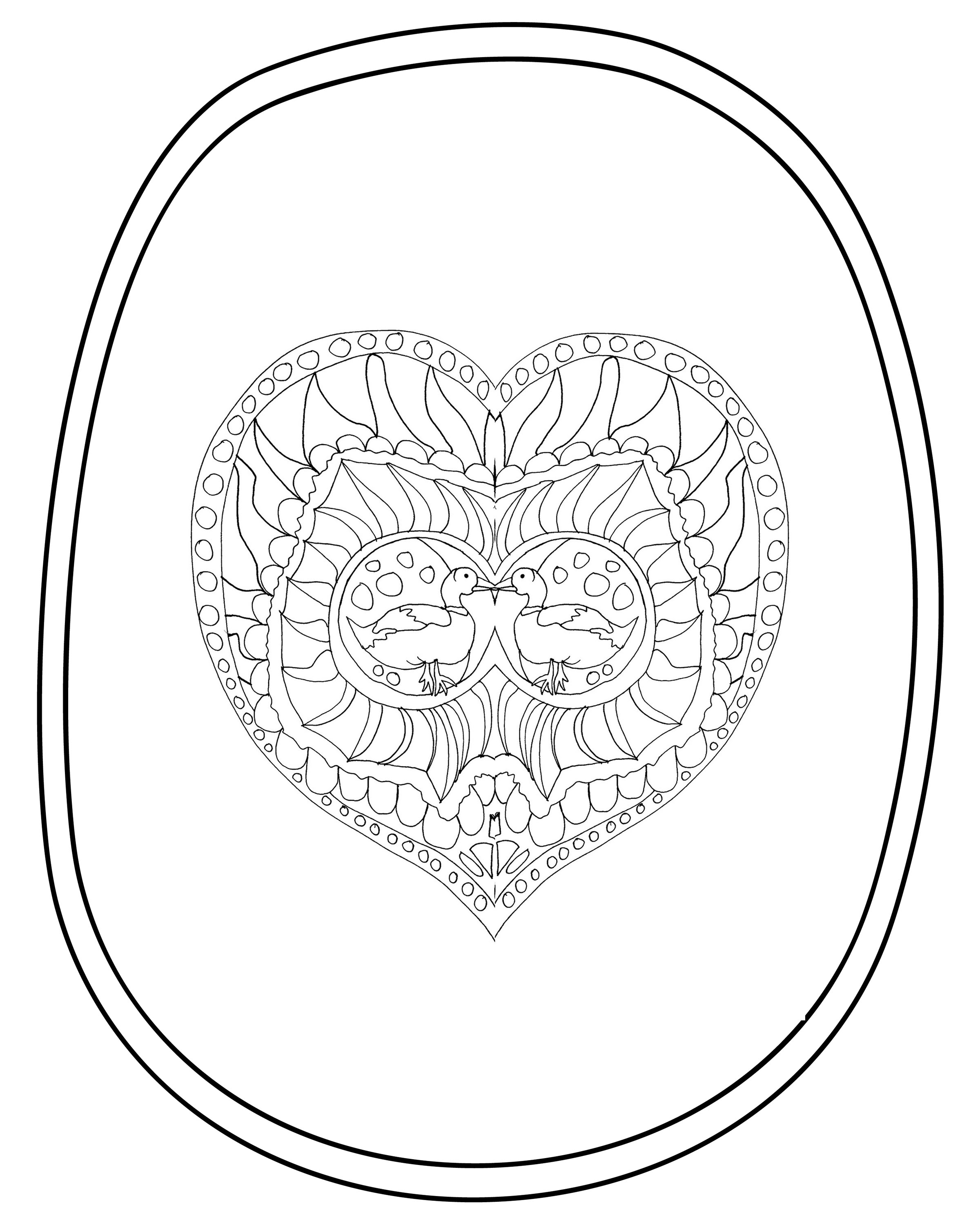 "Adult ""Valentine's Day"" Coloring Sheets 4"