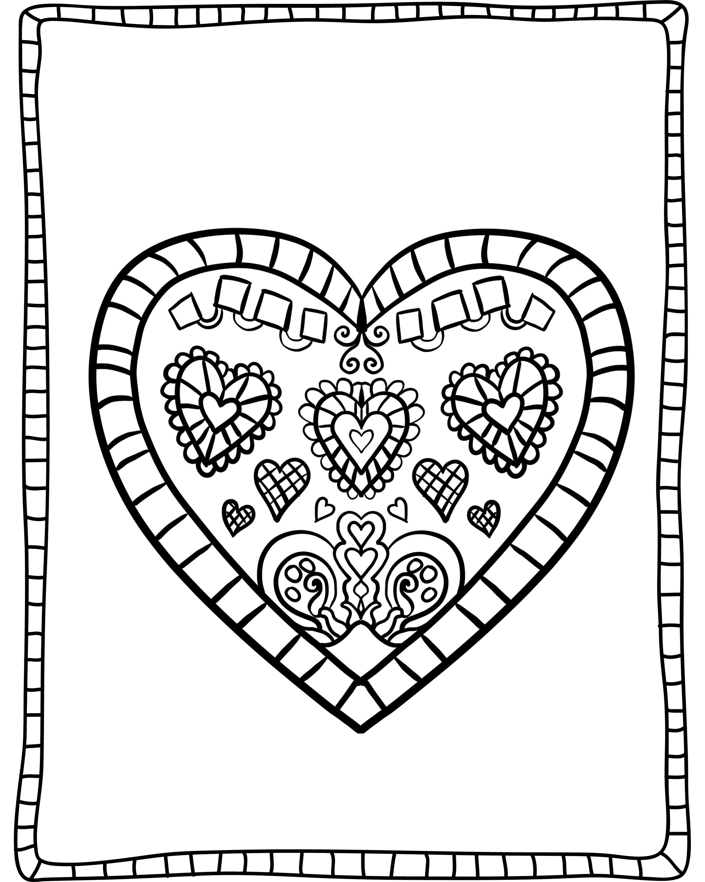 "Adult ""Valentine's Day"" Coloring Sheets 3"