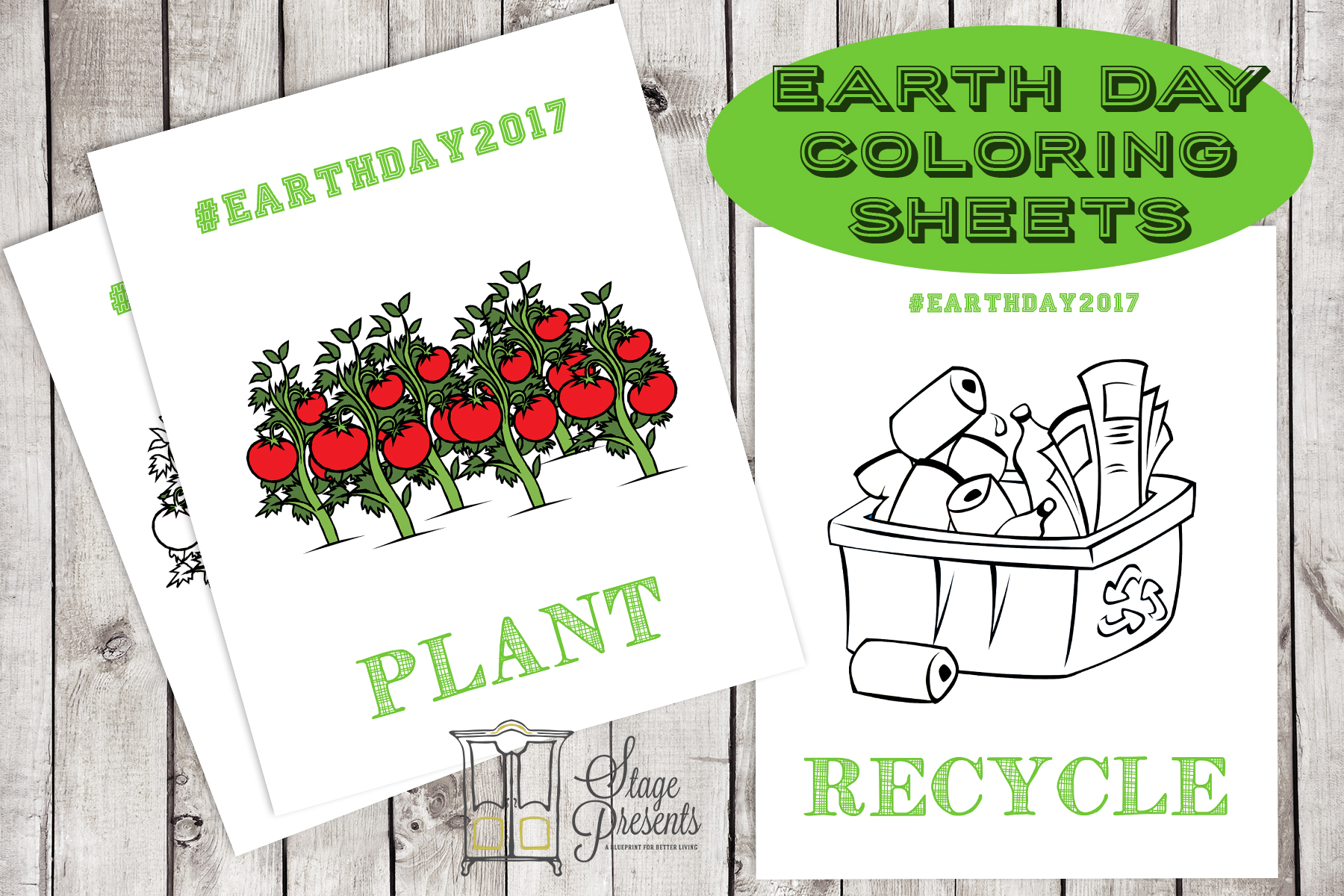 Earth Day Coloring Sheets 2017 Mockup